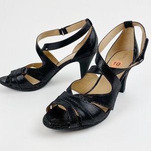 Naturalizer Strappy Heels Black Textured FF475